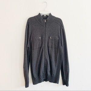 INC International Concepts Gray Zip Up Sweater M